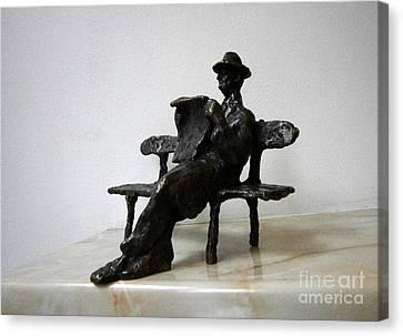Statue Canvas Print - Man With Newspaper by Nikola Litchkov