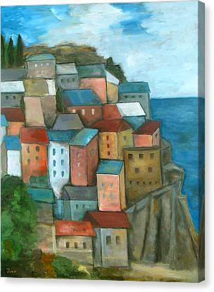 Manarola Cinque Terre Canvas Print by Trish Toro