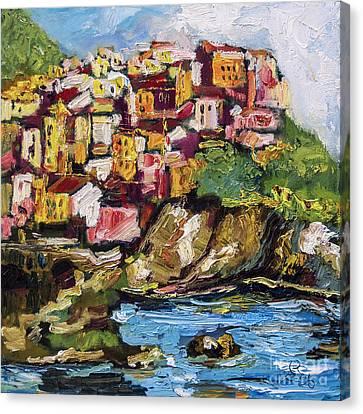 Manarola Italy Cinque Terre Canvas Print by Ginette Callaway