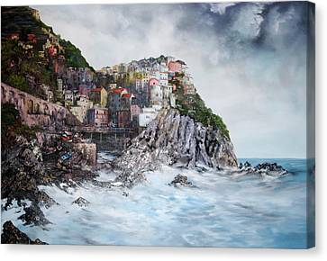 Canvas Print featuring the painting Manarola Italy by Jean Walker