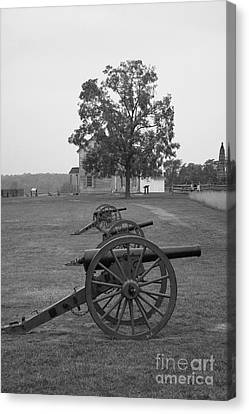 Civil War Site Canvas Print - Manassas Battlefield Cannon And House by Christiane Schulze Art And Photography
