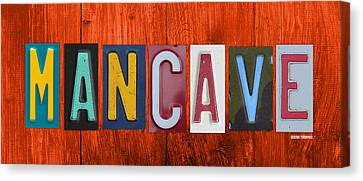 Artwork On Canvas Print - Mancave License Plate Letter Vintage Phrase Artwork On Burnt Orange Wood by Design Turnpike