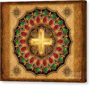 Mandala Illuminated Cross Sp Canvas Print by Bedros Awak