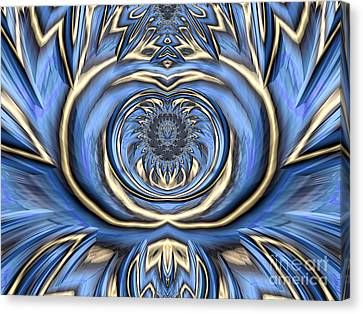 Energy Mandalas Canvas Print - Mandala In Blue And Gold by John Edwards
