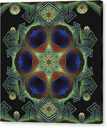 Canvas Print featuring the digital art Mandala Peacock  by Nancy Griswold