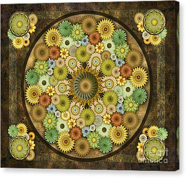 Mandala Stone Flowers Sp Canvas Print by Bedros Awak