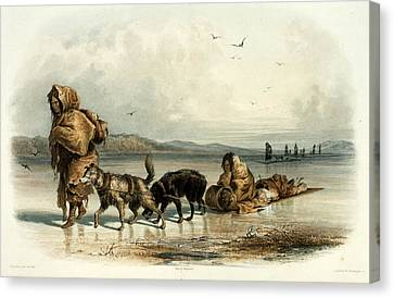 Working Dog Canvas Print - Mandan Indians With Dog Sledge, C.1840 by Science Source