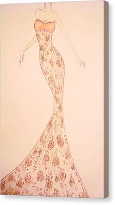Mandarin Damask Gown Canvas Print by Christine Corretti