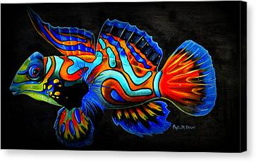 Canvas Print featuring the painting Mandarin Fish by Phyllis Beiser