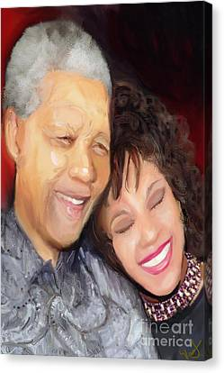 Canvas Print featuring the painting Mandela And Whitney by Vannetta Ferguson