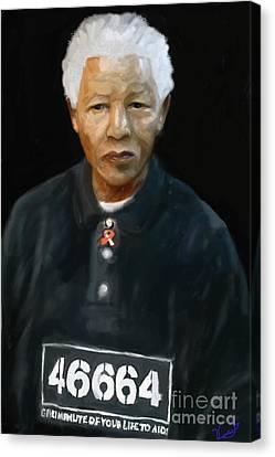 Canvas Print featuring the digital art Mandela by Vannetta Ferguson