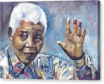 Mandela - Waving Canvas Print by Alan Levine