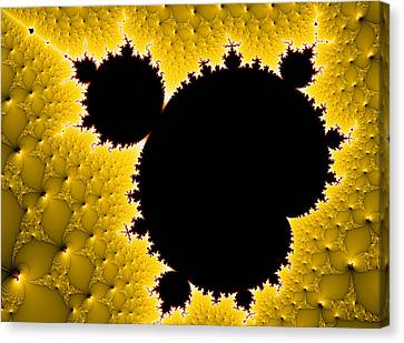 Mandelbrot Set Black And Yellow Fractal Art Canvas Print