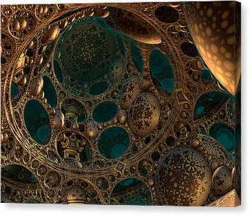 Canvas Print featuring the digital art Mandelbulb Ceiling by Melissa Messick
