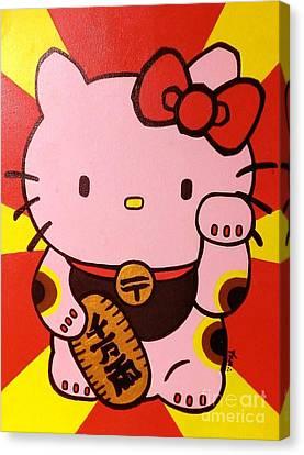 Maneki Hello Kitty Canvas Print by Jin Kai