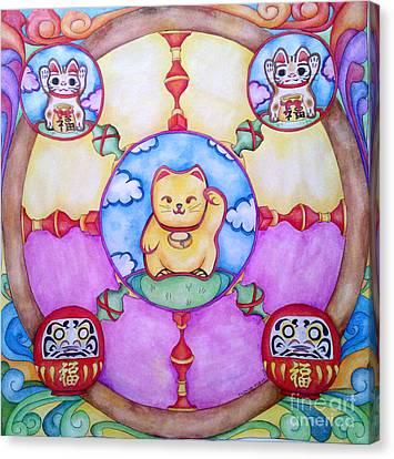 Maneki Neko And Daruma  Canvas Print by Elena Tronina