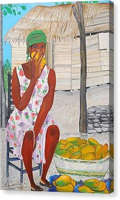 Mango Merchant Woman Canvas Print by Nicole Jean-Louis