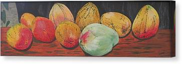 Mangoes On The Barbie Canvas Print by Hilda and Jose Garrancho