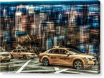 Manhattan - Yellow Cabs - Future Canvas Print by Hannes Cmarits