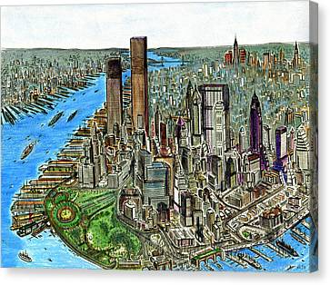 New York Downtown Manhattan 72 Canvas Print by Art America Online Gallery