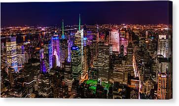 Canvas Print featuring the photograph Manhattan At Night 2 by Chris McKenna