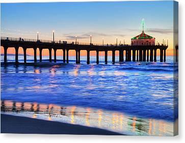 Manhattan Beach Pier At Sunset Canvas Print