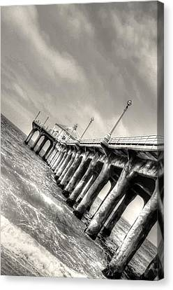 Canvas Print featuring the photograph Manhattan Beach Pier - Mike Hope by Michael Hope