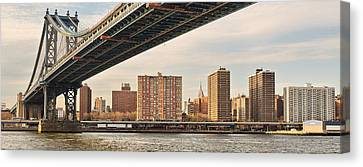 D700 Canvas Print - Manhattan Bridge And Empire State Building by Mitchell R Grosky