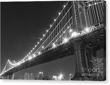 Manhattan Bridge At Twilight Canvas Print by AHcreatrix