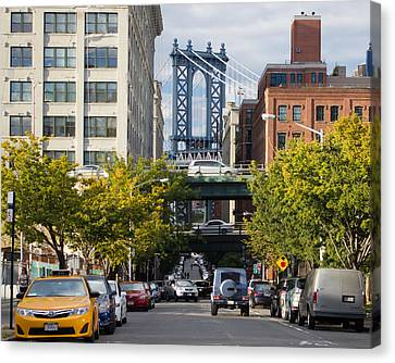 Canvas Print featuring the photograph Manhattan Bridge From Dumbo by Jose Oquendo