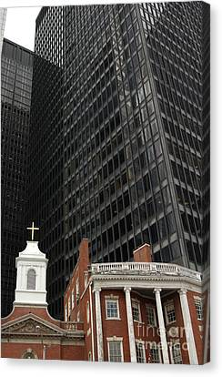 Manhattan Contrast In Red And Black Canvas Print by Anna Lisa Yoder