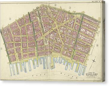 Manhattan, Double Page Plate No. 3 Map Bounded By William St Canvas Print by Litz Collection