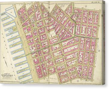 Manhattan, Double Page Plate No. 9 Map Bounded By Charles Canvas Print by Litz Collection
