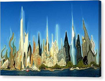 New York City 2100 - Modern Art Canvas Print by Art America Gallery Peter Potter