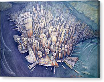 Manhattan From Above, 1994 Oil On Canvas Canvas Print by Charlotte Johnson Wahl