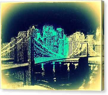 Manhattan In Blue Canvas Print by Irving Starr