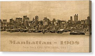 Manhattan Island New York City Usa Postcard 1908 Waterfront And Skyscrapers Canvas Print