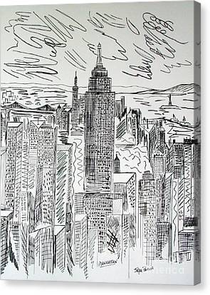 Canvas Print featuring the drawing Manhattan by Janice Rae Pariza