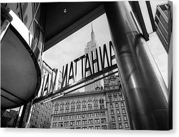 Canvas Print featuring the photograph Manhattan Mall Sign by Dave Beckerman