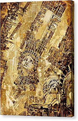 Manhattan Map Antique Canvas Print by Bekim Art