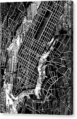Manhattan Map Black And White Canvas Print by Bekim Art