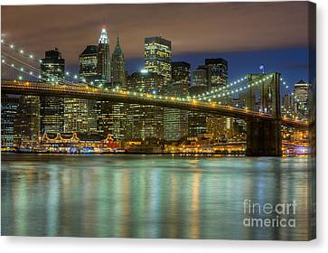 South Street Seaport Canvas Print - Manhattan Night Skyline IIi by Clarence Holmes