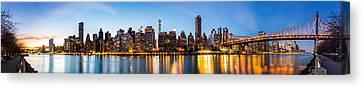 Canvas Print featuring the photograph Manhattan Panorama And Queensboro Bridge by Mihai Andritoiu