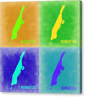 Manhattan Pop Art Map 2 Canvas Print by Naxart Studio