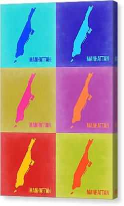 Manhattan Pop Art Map 3 Canvas Print by Naxart Studio
