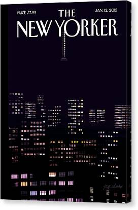 Manhattan Skyline At Night Canvas Print by Jorge Colombo