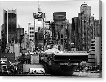 manhattan skyline USS Intrepid Aircraft Carrier new york city Canvas Print