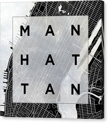 Manhattan Square Bw Canvas Print by South Social Studio
