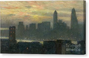 Manhattans Misty Sunset Canvas Print by Childe Hassam