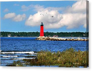 Manistique Lighthouse Canvas Print by Christina Rollo